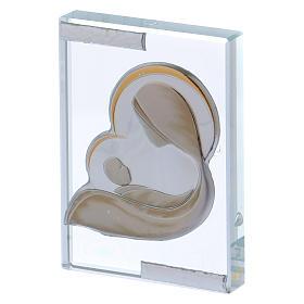 Cuadrito bombonera con Virgen y Jesús estilizados 10x5 cm