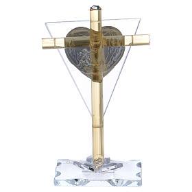 Bonbonnière Communion Croix avec plaque argent 10x5 cm s3