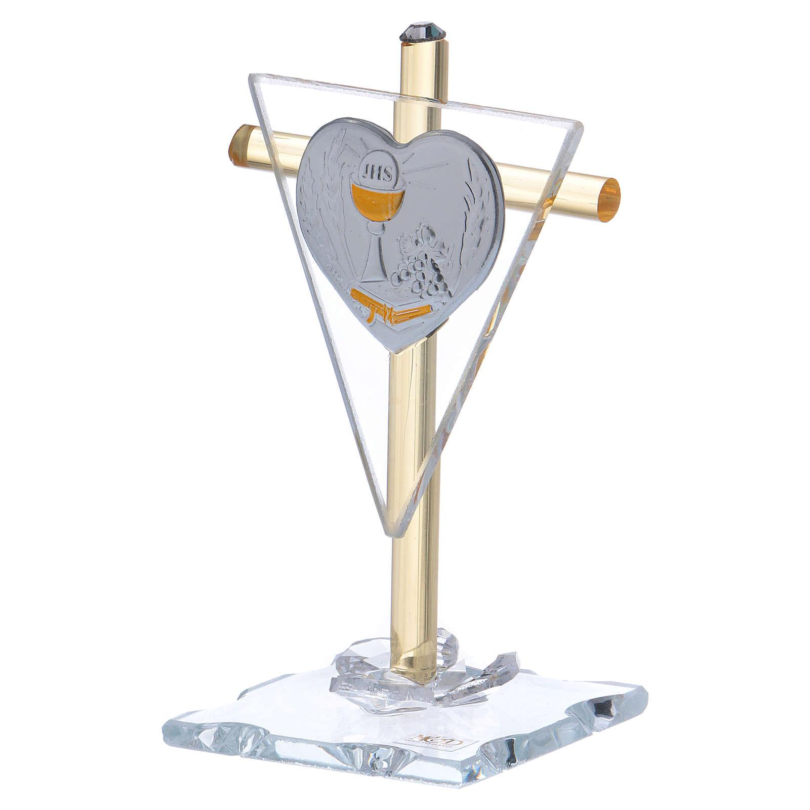 Pamiątka Komunii Krzyż z płytką srebra 10x5 cm 3