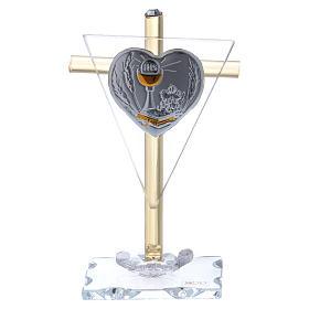 Pamiątka Komunii Krzyż z płytką srebra 10x5 cm s1