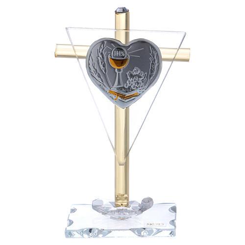 Pamiątka Komunii Krzyż z płytką srebra 10x5 cm 1
