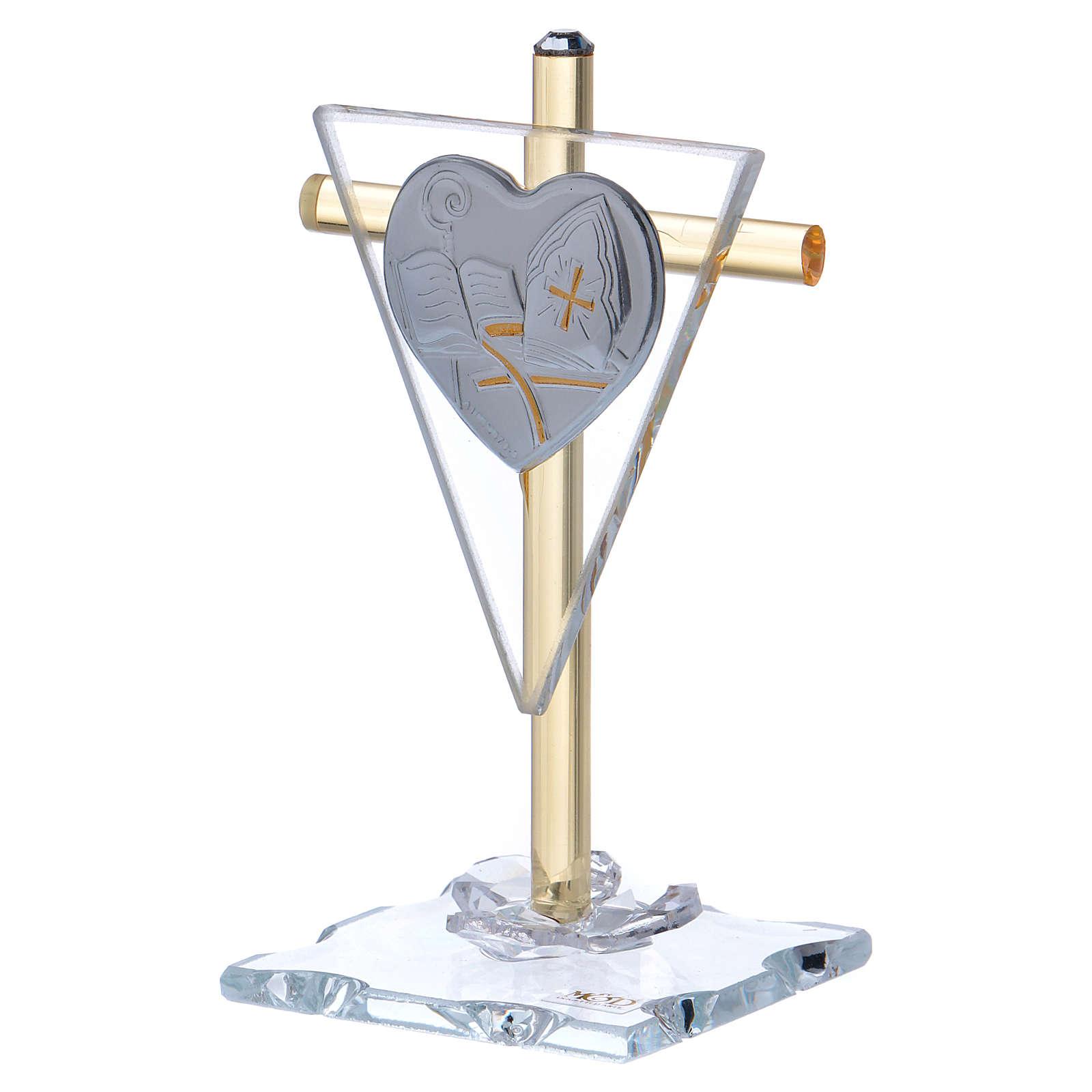 Ricordino Cresima croce cristallo e vetro 10x5 cm 3
