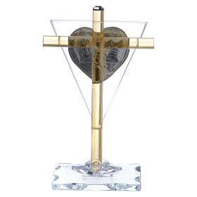 Ricordino Cresima croce cristallo e vetro 10x5 cm s3