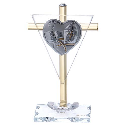 Ricordino Cresima croce cristallo e vetro 10x5 cm 1