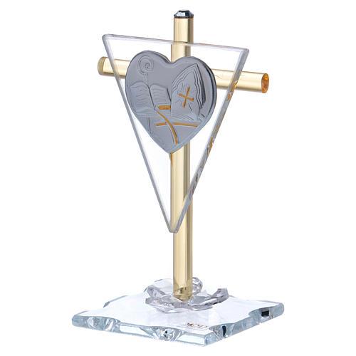 Ricordino Cresima croce cristallo e vetro 10x5 cm 2