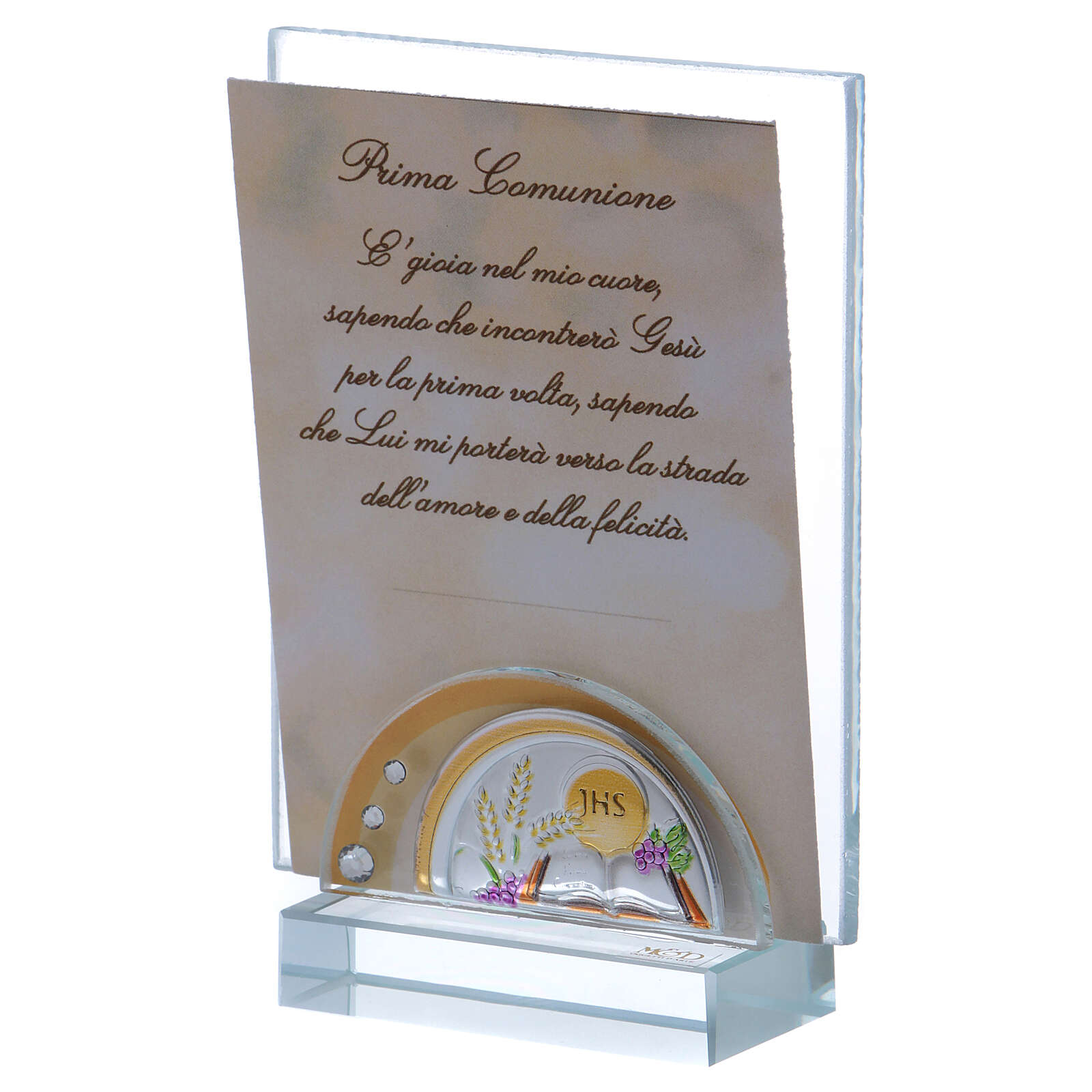Communion souvenir picture frame glass and crystal 4x2 in 3