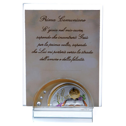 Communion souvenir picture frame glass and crystal 4x2 in 1