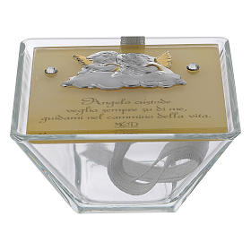 Party favour for Baptism trapezoid-shaped box with Angels 5x10x10 cm s1