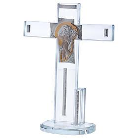 Croix en verre avec icône de Jésus 20x15 cm s2
