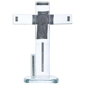 Croix en verre avec icône de Jésus 20x15 cm s3