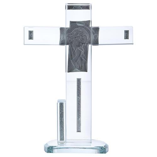 Croix en verre avec icône de Jésus 20x15 cm 3