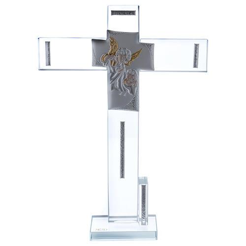Idea regalo Battesimo Croce con Angelo 30x20 cm 1