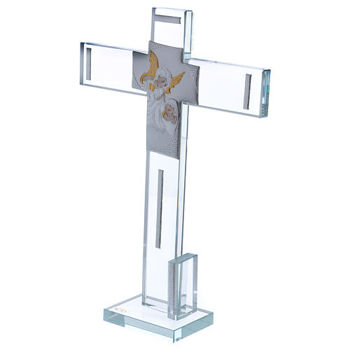 Idea regalo Battesimo Croce con Angelo 30x20 cm 2