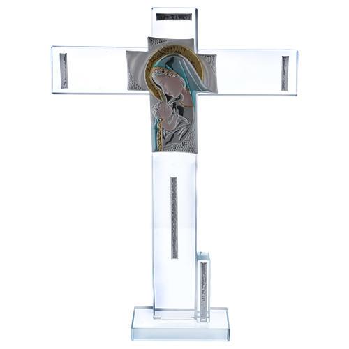 Idea regalo Croce con immagine della Maternità 30x20 cm 1