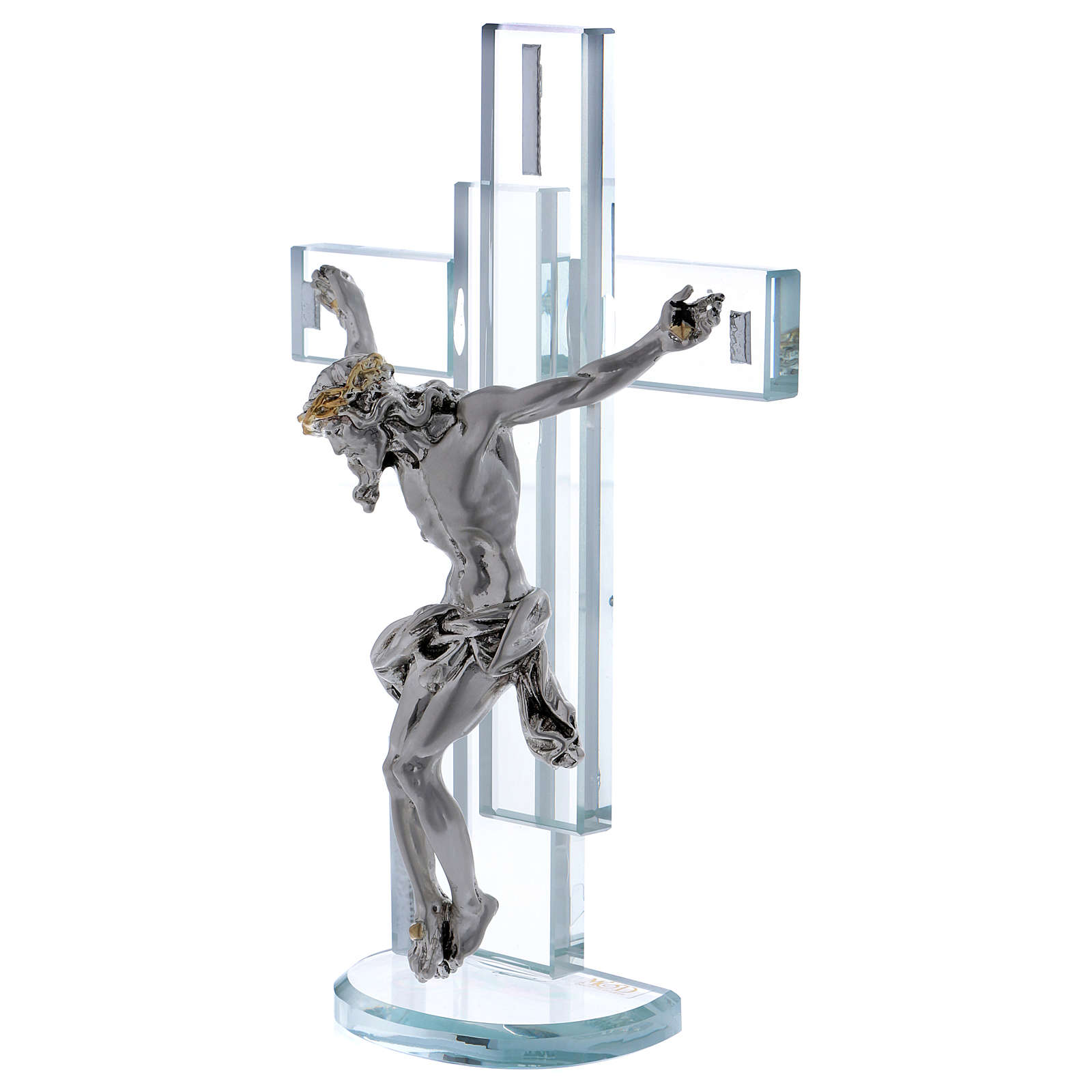 Idea regalo cruz con Jesús de plata laminada 25x15 cm 3