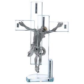 Idea regalo cruz con Jesús de plata laminada 25x15 cm s3