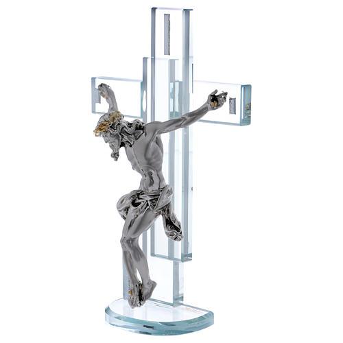 Idea regalo cruz con Jesús de plata laminada 25x15 cm 2