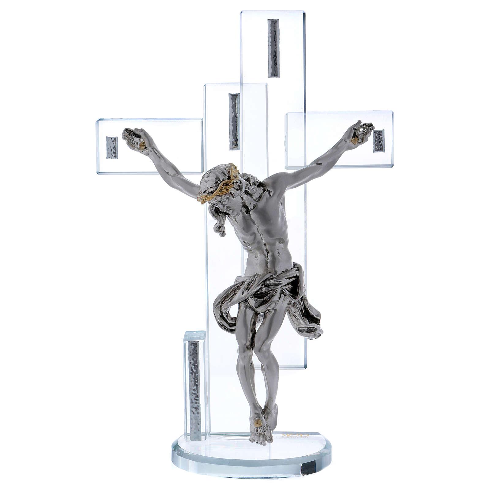 Idea regalo croce con Gesù in argento laminato 25x15 cm 3