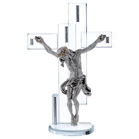 Idea regalo croce con Gesù in argento laminato 25x15 cm s1