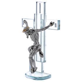 Idea regalo croce con Gesù in argento laminato 25x15 cm s2