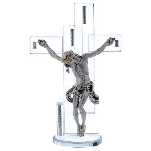 Idea regalo croce con Gesù in argento laminato 25x15 cm 1