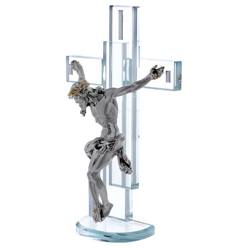Idea regalo croce con Gesù in argento laminato 25x15 cm 2