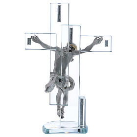 Gift idea cross with Jesus on silver foil 10x6 in s3