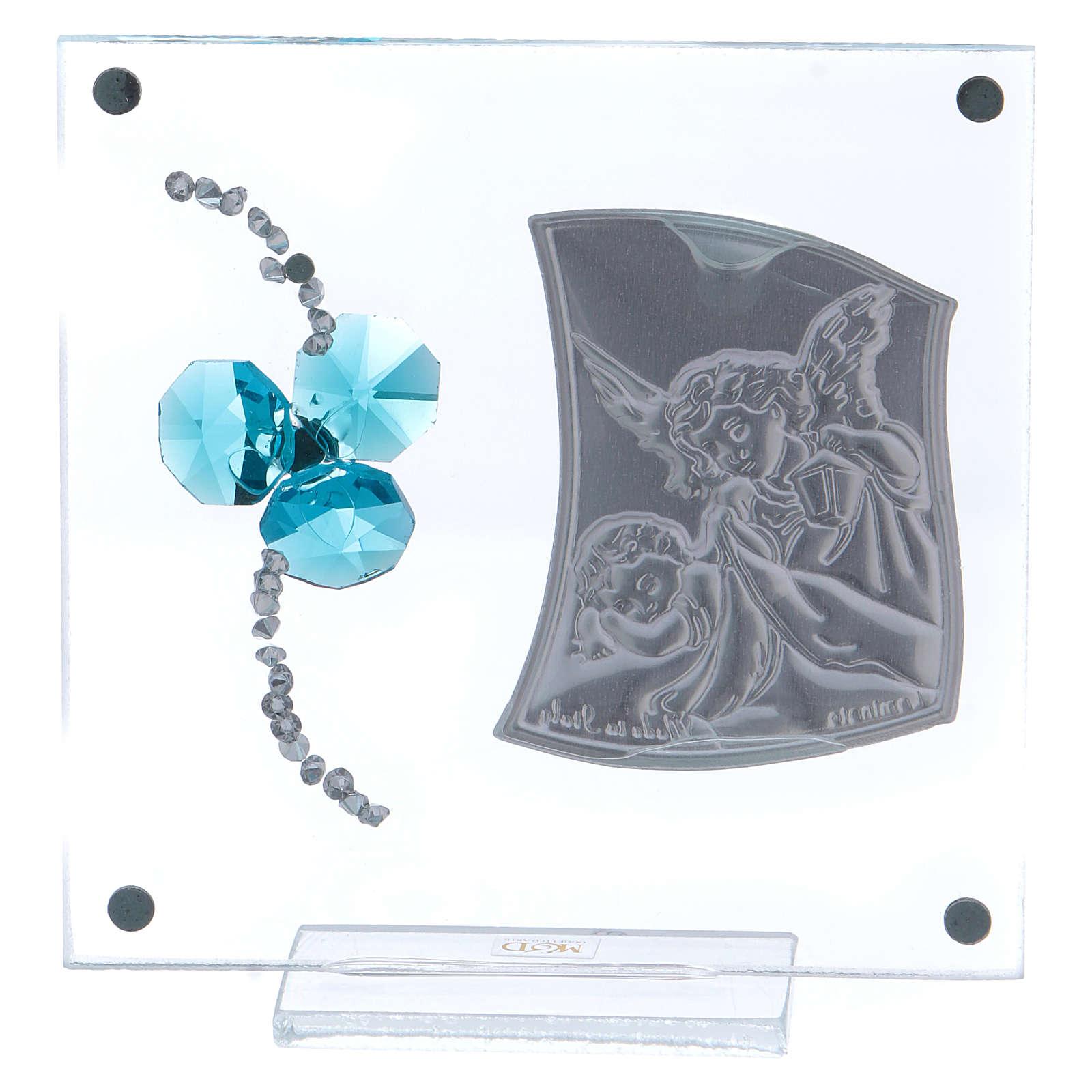 Bomboniera quadretto Angeli trifoglio acquamarina 10x10 cm 3