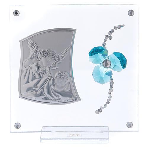 Bomboniera quadretto Angeli trifoglio acquamarina 10x10 cm 1