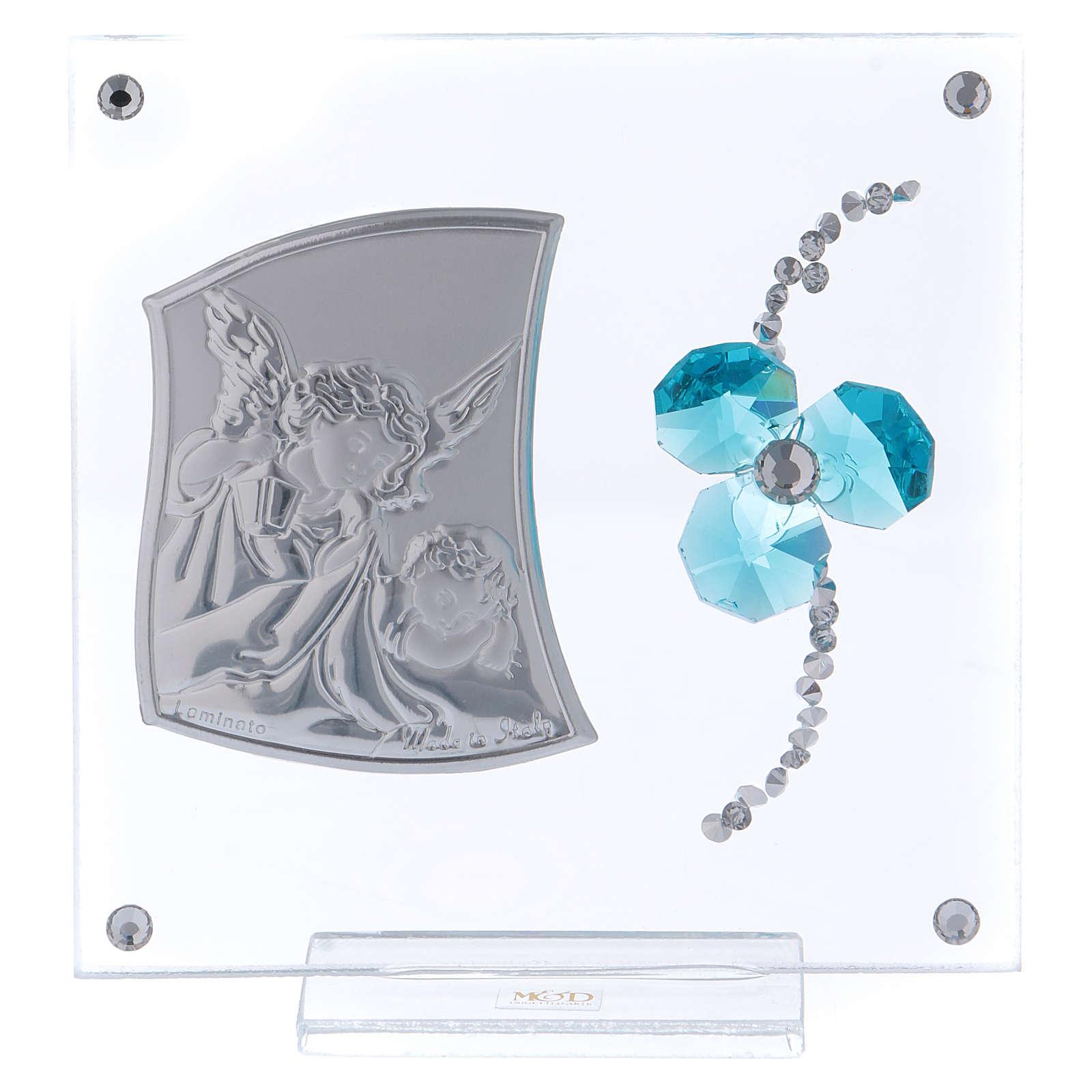 Pamiątka obrazek Anioł koniczyna woda morska 10x10 cm 3