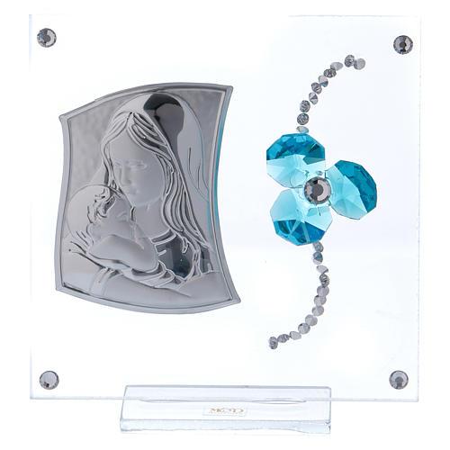 Bonbonnière baptême trèfle aigue-marine image Maternité 10x10 cm 1