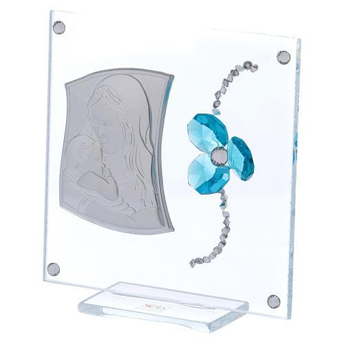 Bonbonnière baptême trèfle aigue-marine image Maternité 10x10 cm 2