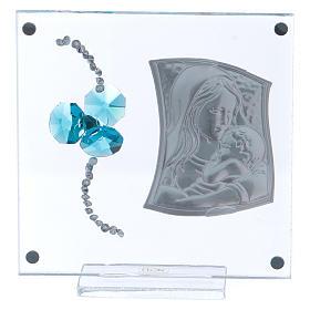 Bomboniera Battesimo trifoglio acquamarina immagine Maternità 10x10 cm  s3