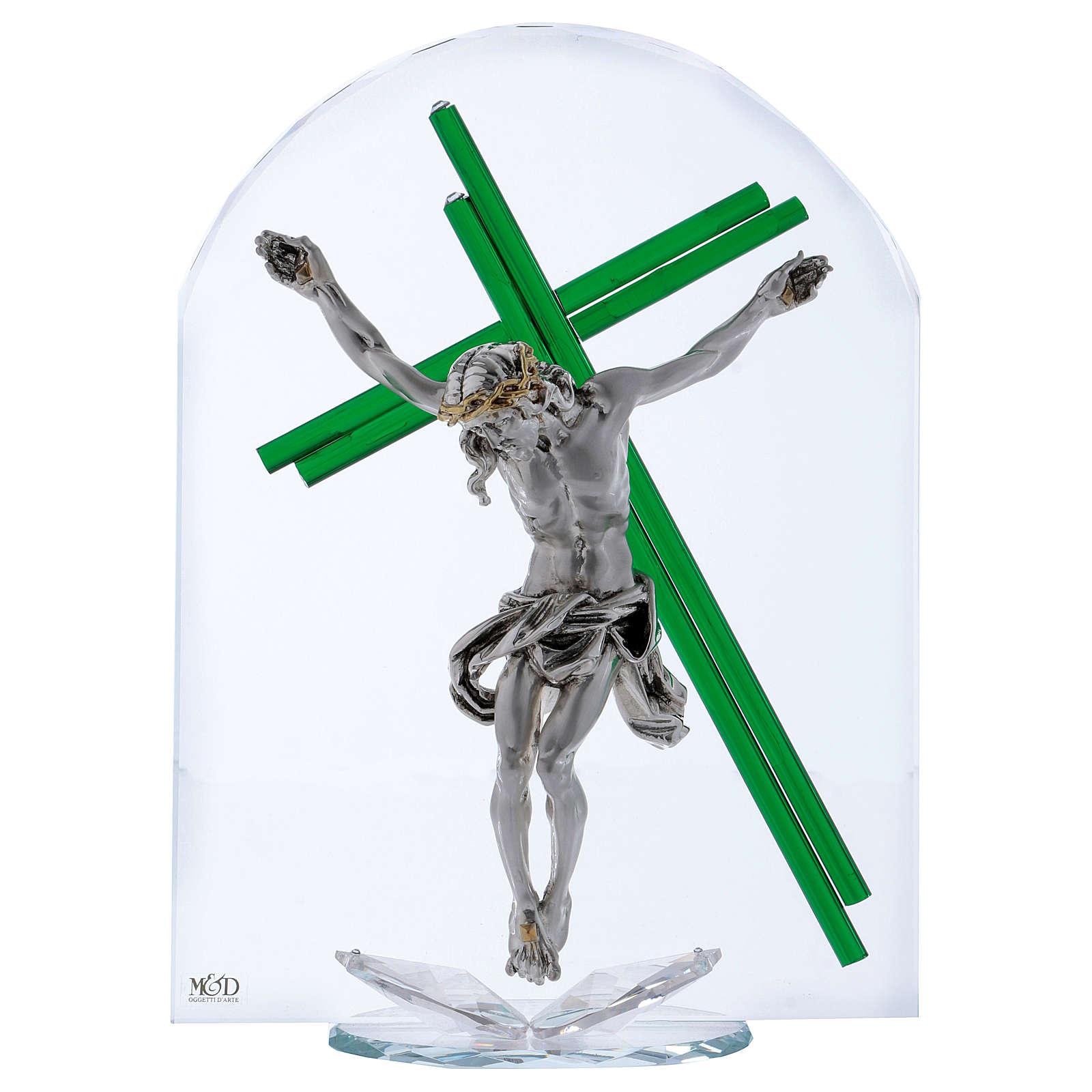 Idea regalo croce verde cristallo e lamina argento 30x25 cm 3