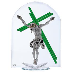 Idea regalo croce verde cristallo e lamina argento 30x25 cm s1