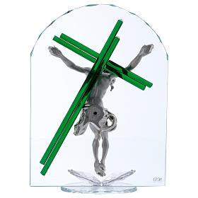 Idea regalo croce verde cristallo e lamina argento 30x25 cm s3