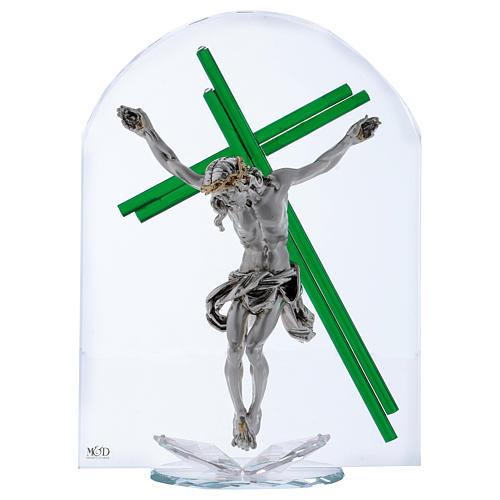 Idea regalo croce verde cristallo e lamina argento 30x25 cm 1