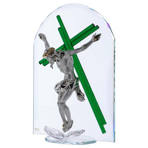 Idea regalo croce verde cristallo e lamina argento 30x25 cm 2