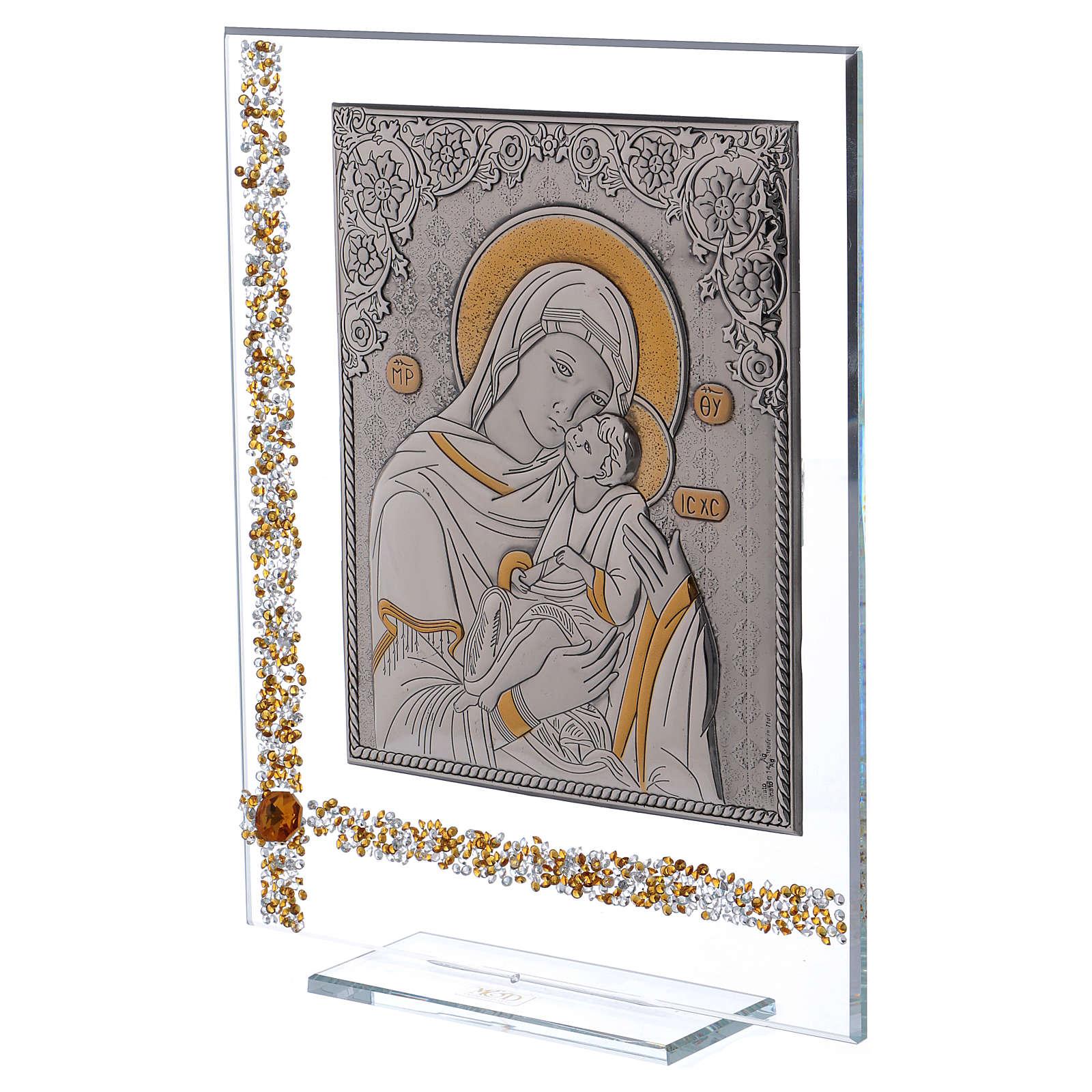 Cuadro icono María con Niño Jesús sobre lámina plata 25x20 cm 3