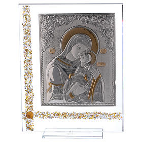 Cuadro icono María con Niño Jesús sobre lámina plata 25x20 cm s1