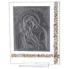 Cuadro icono María con Niño Jesús sobre lámina plata 25x20 cm s3
