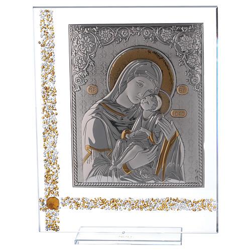 Cuadro icono María con Niño Jesús sobre lámina plata 25x20 cm 1