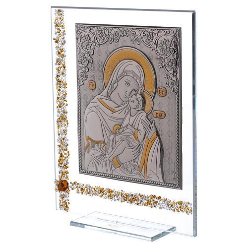 Cuadro icono María con Niño Jesús sobre lámina plata 25x20 cm 2