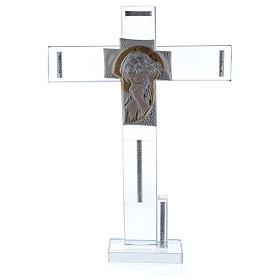 Cruz con icono de Cristo sobre lámina plata 30x20 cm s1