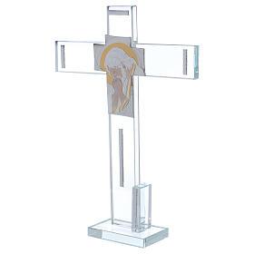 Cruz con icono de Cristo sobre lámina plata 30x20 cm s2