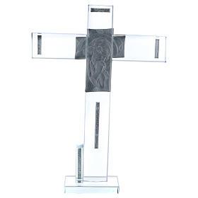 Cruz con icono de Cristo sobre lámina plata 30x20 cm s3