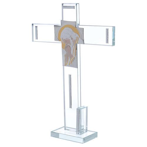 Cruz con icono de Cristo sobre lámina plata 30x20 cm 2