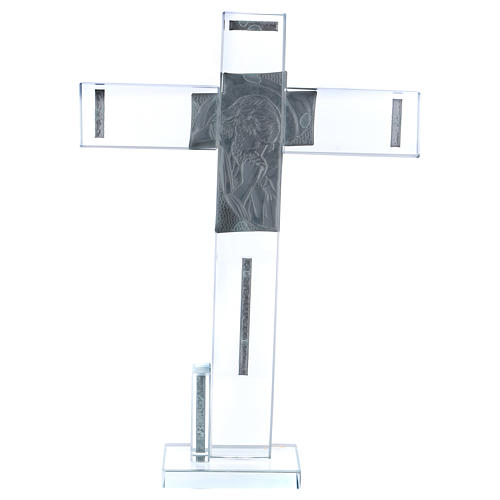 Cruz con icono de Cristo sobre lámina plata 30x20 cm 3