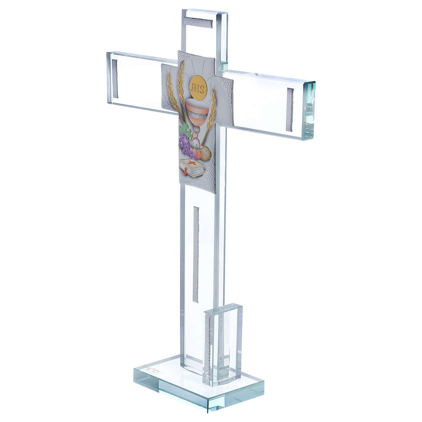 Idea regalo para Comunión cruz vidrio y cristal 30x20 cm 3