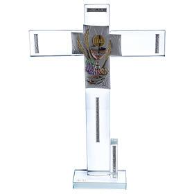 Idea regalo para Comunión cruz vidrio y cristal 30x20 cm s1